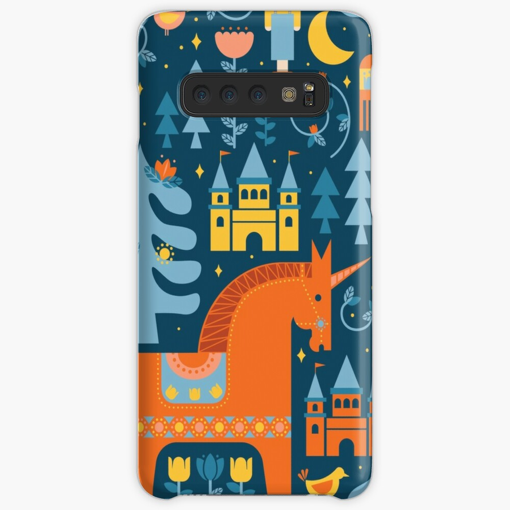 Märchen in Blau + Orange Hüllen & Klebefolien für Samsung Galaxy