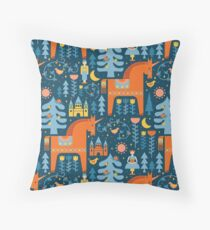 Fairy Tale in Blue + Orange Throw Pillow