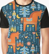 Märchen in Blau + Orange Grafik T-Shirt
