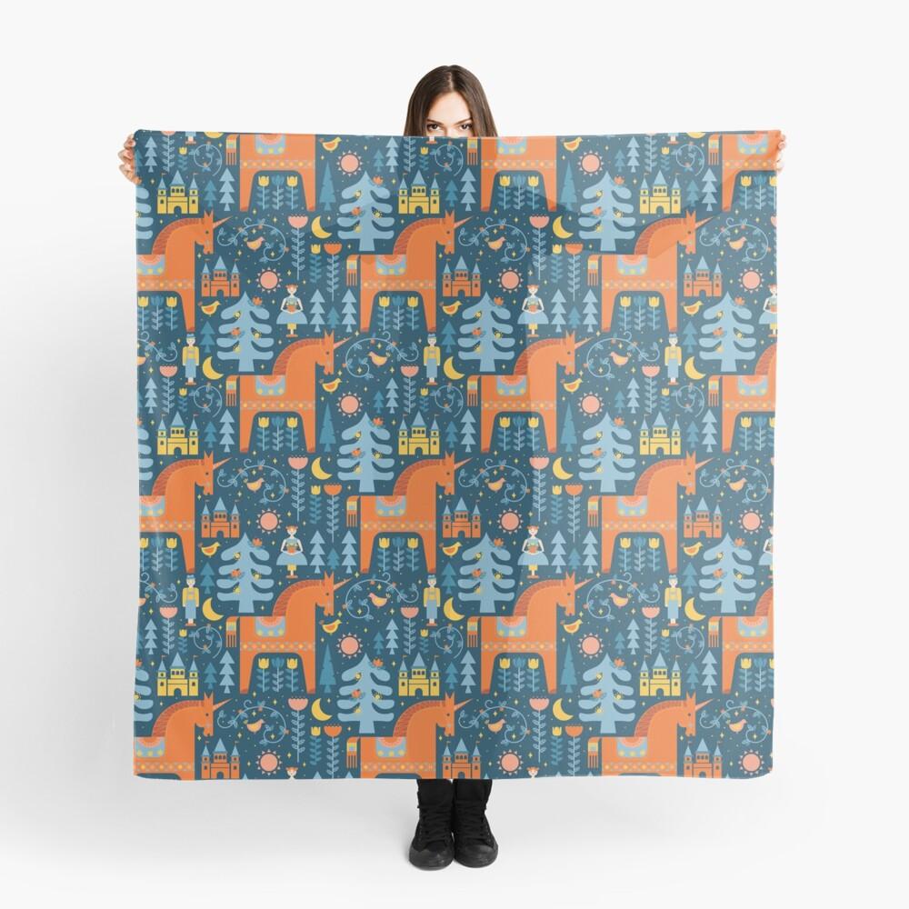 Märchen in Blau + Orange Tuch