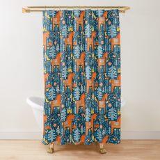Fairy Tale in Blue + Orange Shower Curtain