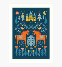 Märchen in Blau + Orange Kunstdruck
