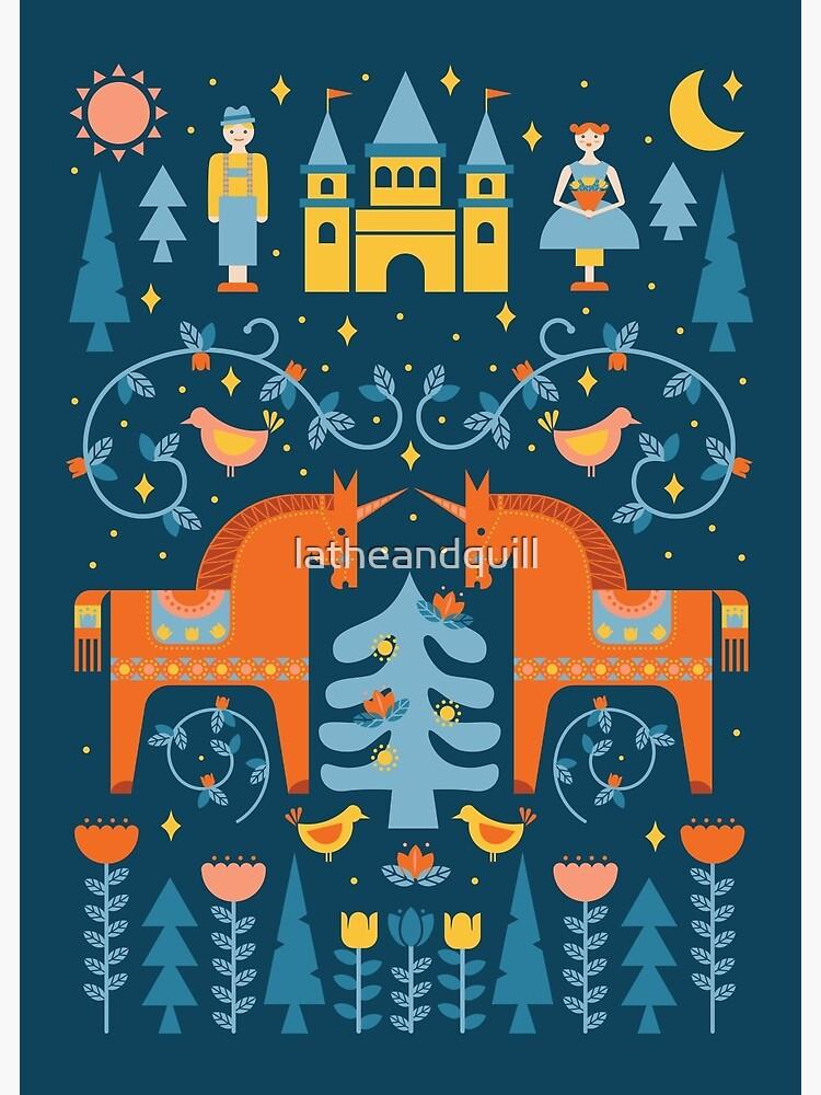 Märchen in Blau + Orange von latheandquill