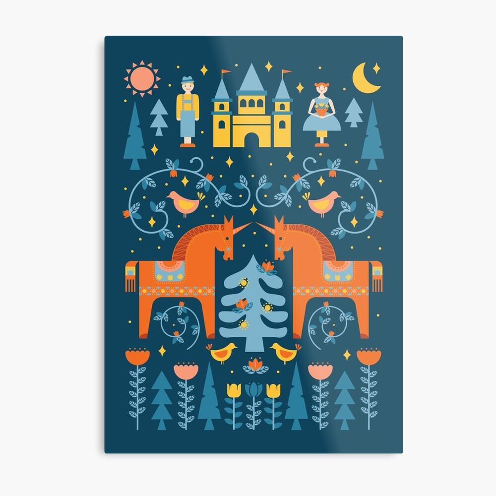 Märchen in Blau + Orange Metallbild