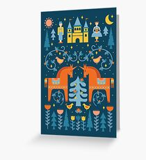 Fairy Tale in Blue + Orange Greeting Card
