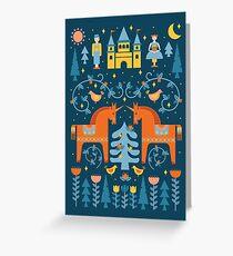 Märchen in Blau + Orange Grußkarte