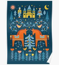 Fairy Tale in Blue + Orange Poster