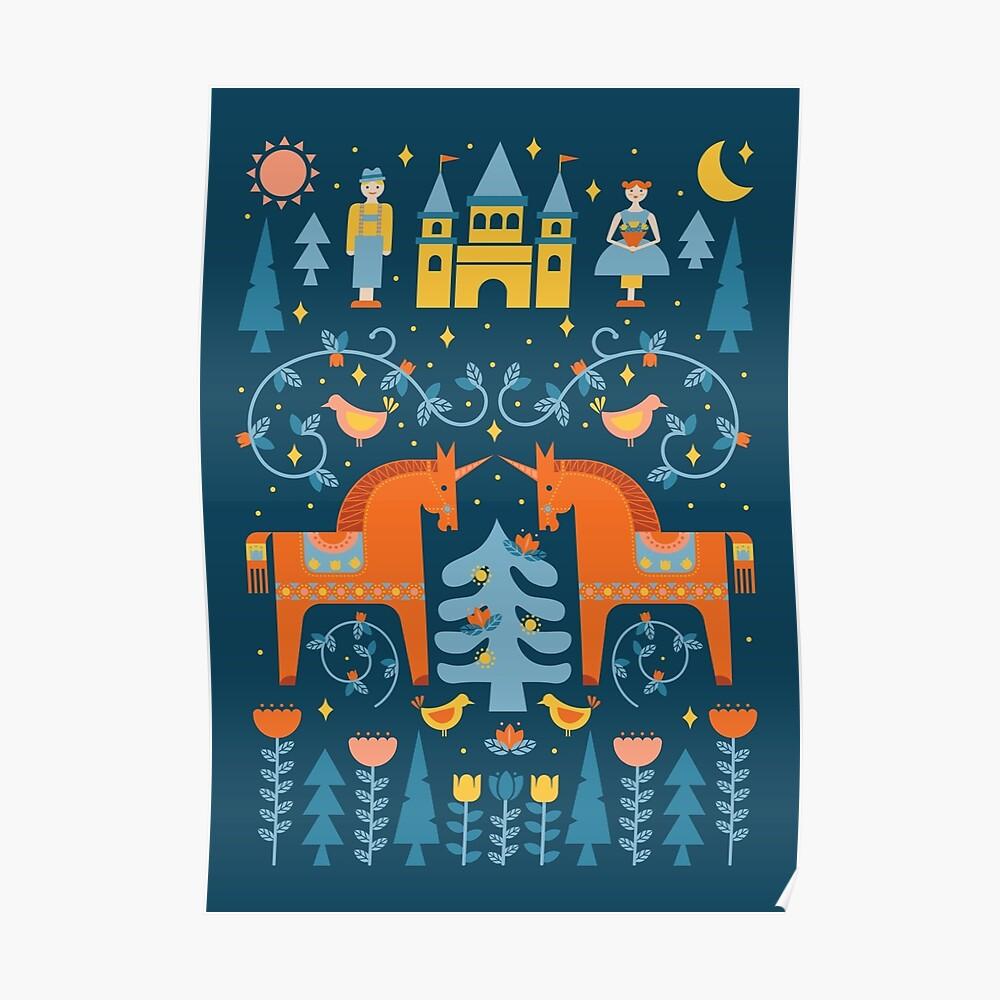 Märchen in Blau + Orange Poster