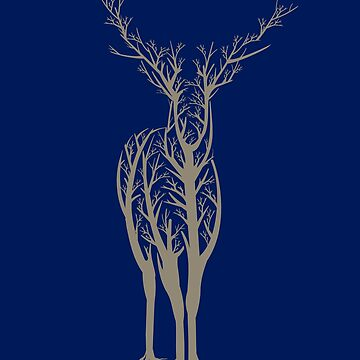 Deer Lover, Tree Lovers, Nature Lovers, The Deer is the Forest Made from Trees by manbird
