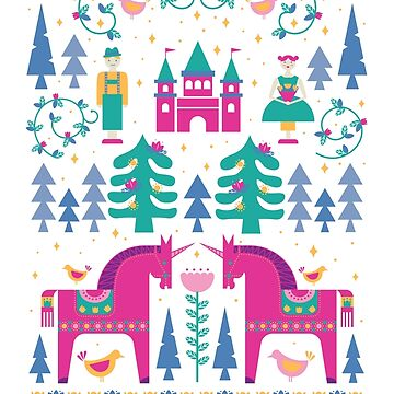 Fairy Tale in Magenta + Teal by latheandquill