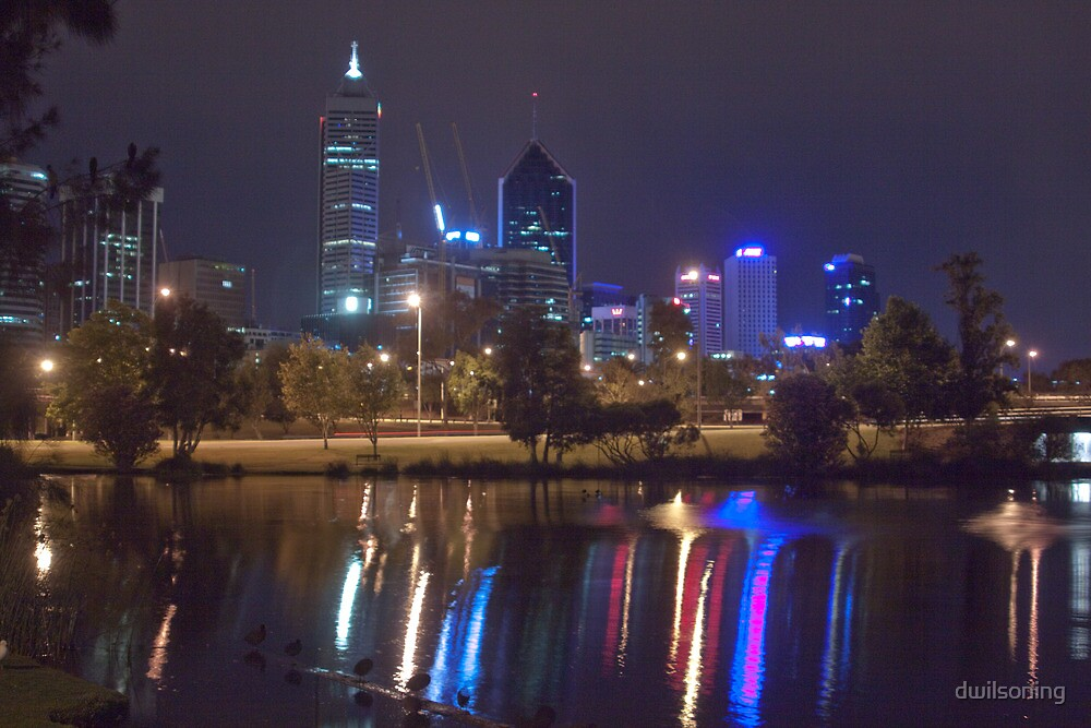 Perth City By Night from Mounts Bay Road by dwilsoning
