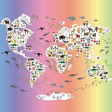 Cartoon animal world map for children and kids, back to schhool. Animals from all over the world white continents islands on rainbow background of ocean and sea. Scandinavian decor. by EkaterinaP