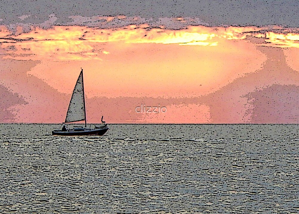 Setting Sail at Sunset  by clizzio