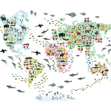 Cartoon animal world map for children and kids, back to schhool. Animals from all over the world white continents islands on white background  by EkaterinaP