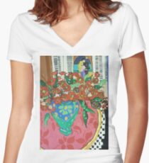 """"""" Red gums and Romance"""" Women's Fitted V-Neck T-Shirt"""
