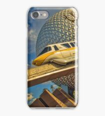 Monorail Passing in front of Spaceship Earth at Epcot iPhone Case/Skin