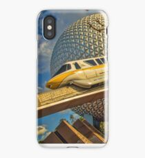 Monorail Passing in front of Spaceship Earth at Epcot iPhone Case