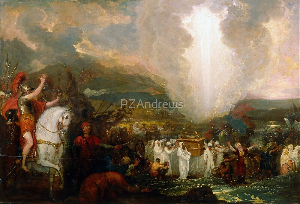 Joshua passing the River Jordan with the Ark of the Covenant by PZAndrews