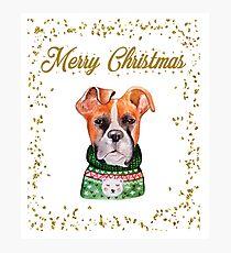Merry Christmas Boxer Dog Photographic Print