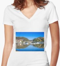 Picturesque Harbour Women's Fitted V-Neck T-Shirt