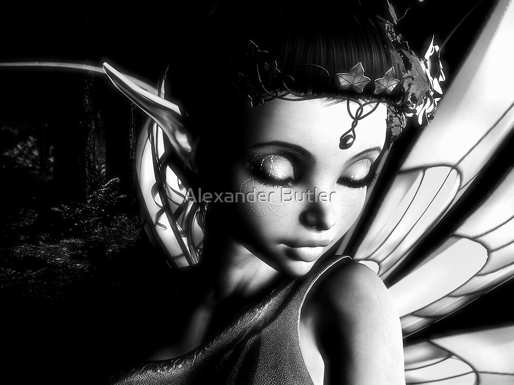 Morning Fairy (B&W) by Alexander Butler