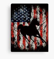 Horse American USA Flag Canvas Print