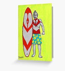 ULTRAMAN goes surfing Greeting Card