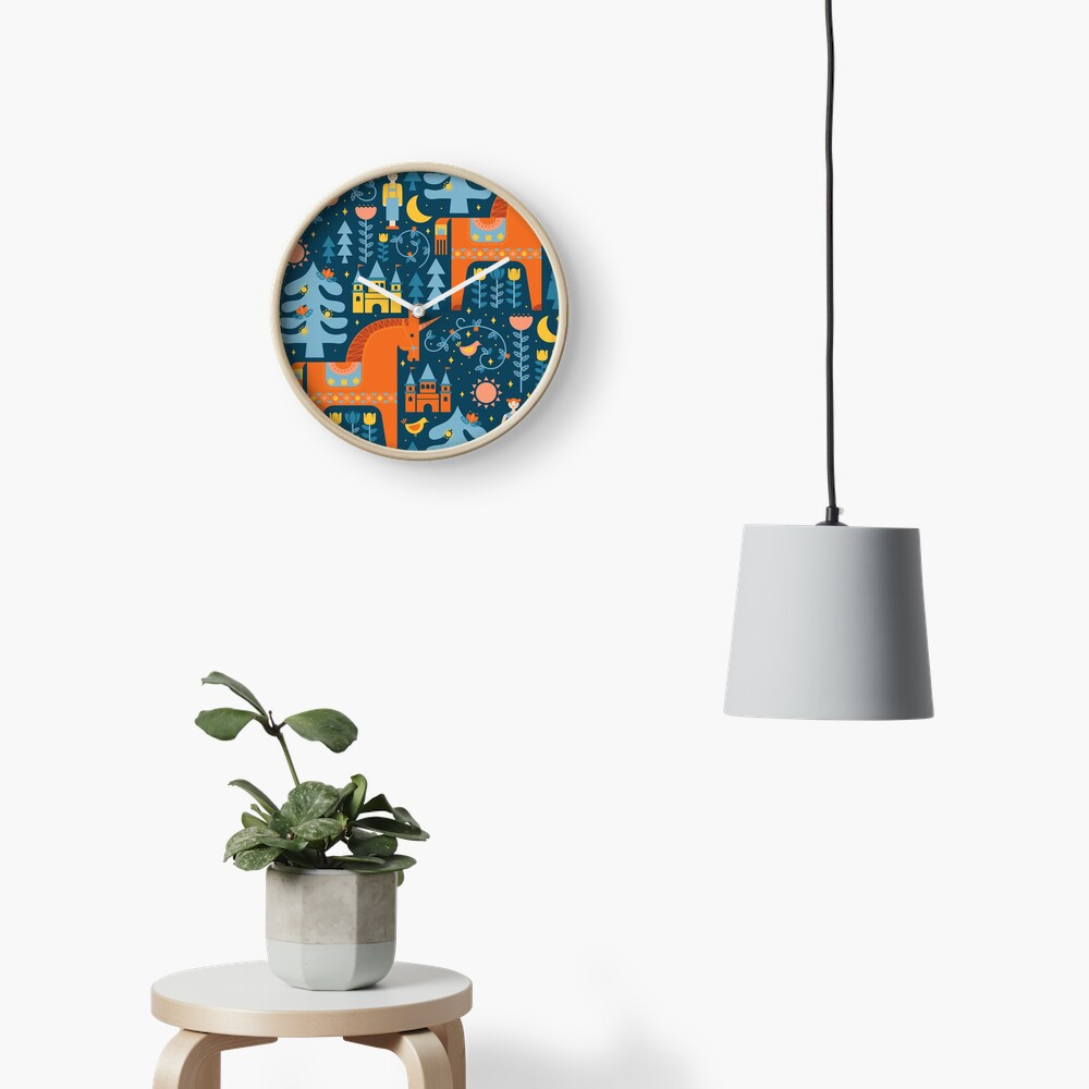 Märchen in Blau + Orange Uhr