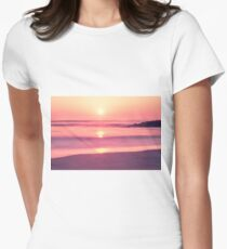 A sunset at Furadouro beach, Ovar, Aveiro region of Portugal Women's Fitted T-Shirt