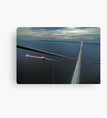 The Mackinac Bridge and Lake Boat from The South Tower Canvas Print