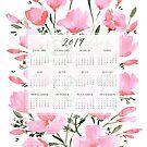 Kalender 2019 mit rosa Aquarellmohnblumen von blursbyai