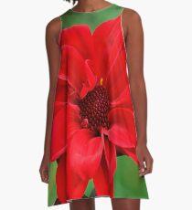 Dahlia Bishop of Llandaff Crimson Red Flower A-Line Dress