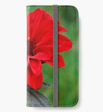 Dahlia Bishop of Llandaff Crimson Red Flower iPhone Wallet/Case/Skin