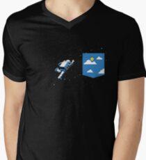 Camiseta para hombre de cuello en v Bolsillo espacial