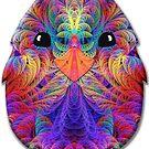Rainbow Split Feathers Chicken Little by wolfepaw