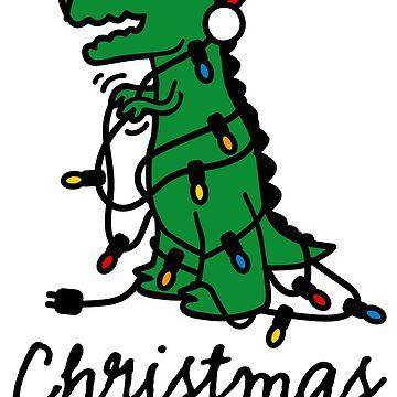 Christmas tree rex ugly xmas lights dinosaur by LaundryFactory