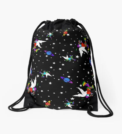 Angel Dudes Starry Night - black Drawstring Bag