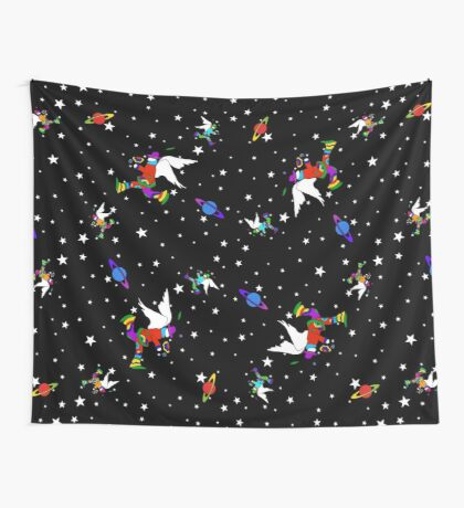 Angel Dudes Starry Night - black Wall Tapestry