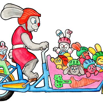 Bunny Family on a Cargo Bike by tomasquinones