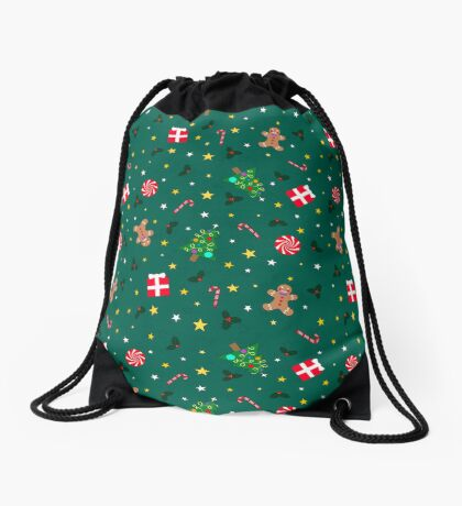 Christmas Holidays - Green Drawstring Bag