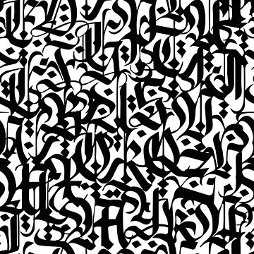 calligraphy pattern 5 - black and white typography design - abstract text  by ohaniki