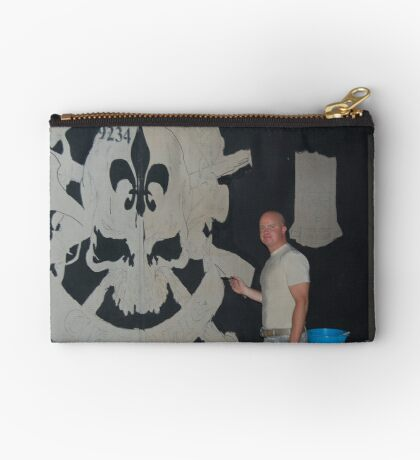 Josh King painting T-wall in Balad Iraq Zipper Pouch