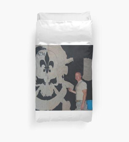 Josh King painting T-wall in Balad Iraq Duvet Cover