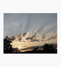 sun rays shining through the clouds Photographic Print