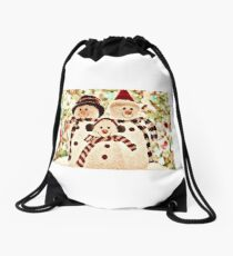 CHRISTMAS T-SHIRT WITH SNOWMEN Drawstring Bag