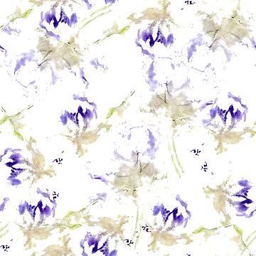 Abstract purple flowers by lisenok