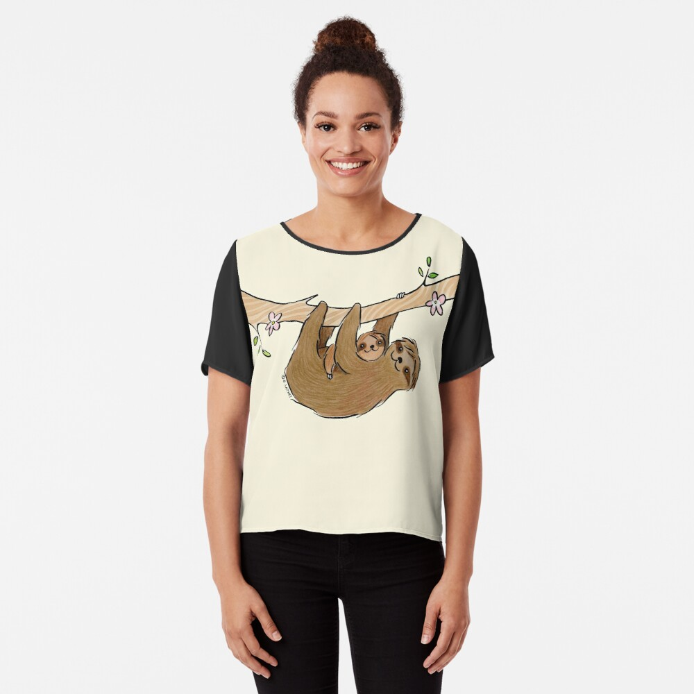 Mama and Baby Sloth Chiffon Top