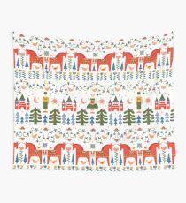 Skandinavisch inspiriertes Weihnachten - Rot + Grün Wandbehang