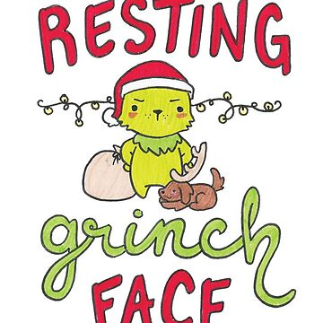 Resting Grinch Face Christmas Card by Drawingsbymaci