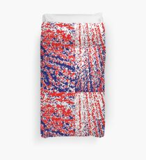 Red White Blue Abstract Dots Duvet Cover